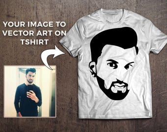 Get your image illustrated in vector art and printed on tshirt