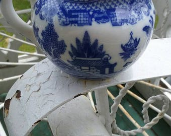"""Very fine  translucent porcelain blue willow creamer pitcher 2""""-3"""".Sweet no damage at all.was 25.00"""