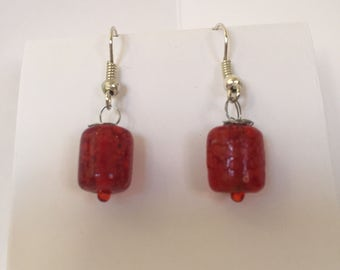 Red speckled drop earrings