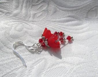 Spring flower earrings red