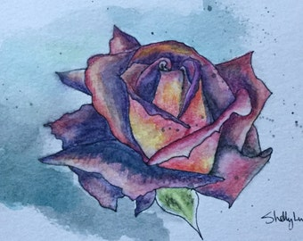 Original Hand painted Postcard, Illustration Rose Flower Watercolor - 4x6 Watercolor Pencils and Ink on Watercolor Postcard