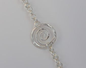 Koru // Spiral Chain Bracelet // Symbol representing New Life to the Maori people of New Zealand // Argentium Silver