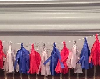 Red, Blue, Gray Tassel Garland