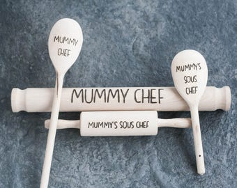 Engraved Baking Set, Wooden spoon, Baking Set, Kids baking, Wooden baking set, mum's birthday, Gifts for her, Birthday gift, Personalised