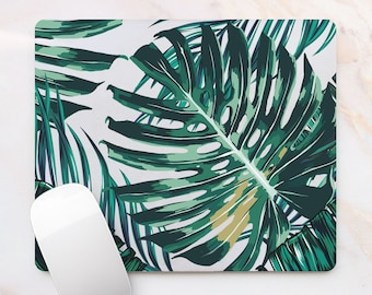 Palm Leaves Floral Mousepad Green Palm Leaves Mouse Mat Mouse Pad Office Mousemat Tropics Mouse Pad  Accessories for Her