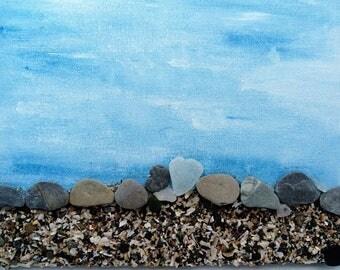 pebble art canvas, beach