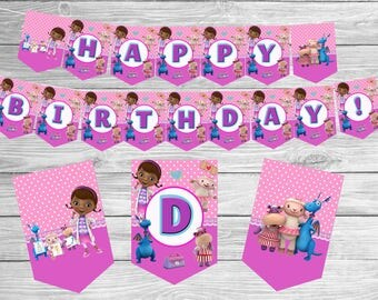 Doc McStuffins Banner instant download birthday banner Birthday outfit Printables Garland banner birthday decorations flags party supplies