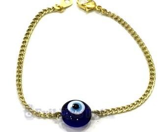 Evil Eye Bead in Oxidized Golden Chain