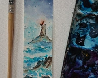 Bookmark original watercolor of a lighthouse blue