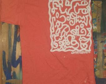 JUMBLED FACES: hand-painted XL original t-shirt