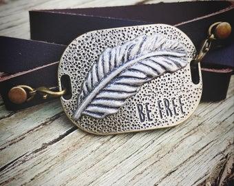 Feather Leather Wrap Around Bracelet