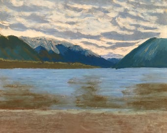 Lake in New Zealand - soft pastel on sandpaper