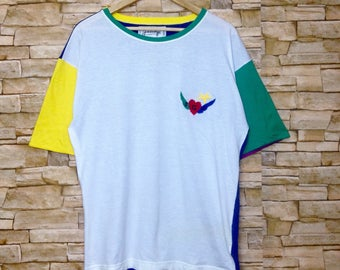 Free shipping Vintage Jean Charles De CASTELBAJAC multicolors short sleeve shirt