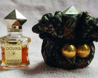 Vintage Prince Douka Marquay Paris perfume in black embroidered pouch