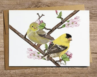 Goldfinch-Apple Tree - Greeting Card