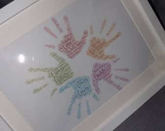 Personalised Family hand prints word art frame