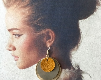 3 Layered Leather Circle Earrings