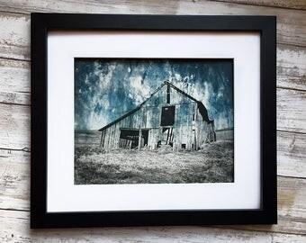Contemporary Art Print - Original Etching - Old Rustic Barn