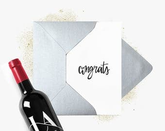 Greeting card | Congrats | Congratulations | Congratulations | A6 folded card | Silver envelope. Folded Greeting Card + Silver envelope