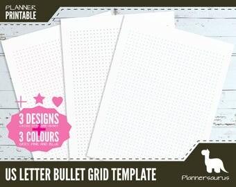 US letter dot grid planner paper printable | bullet journal | BuJo | US letter planner | grid template | grid paper instant download