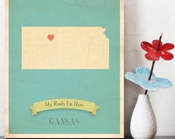 BUY 2 GET 1 FREE  Kansas Roots Map 11x14 Customized Print