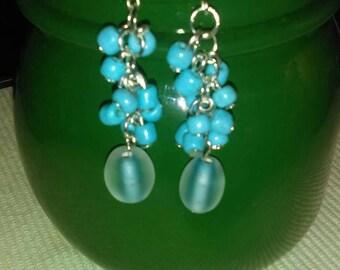 Turquoise beads dangle earrings