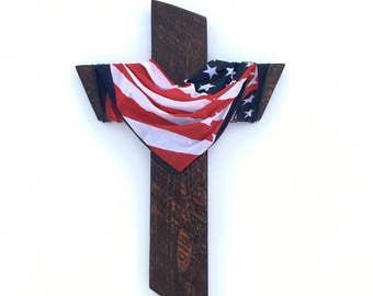 American Flag Cross Decor