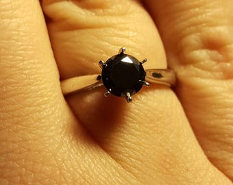 0.85ct black diamond in silver solitaire ring plated with white gold