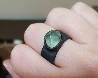Rustic oxidized copper and fluorite ring
