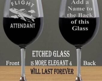 Flight Attendant Wine Glass, Flight Attendant Gift, Glasses for Flight Attendant, Stewardess Wine Glass, Flight Attendants Wine Glasses Gift