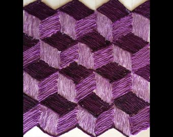 3 D African Thread Art With 3 Shade Of Purple on White Poster