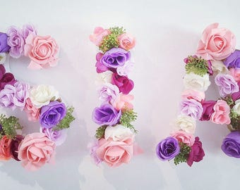 18cm Floral wooden letters made to order