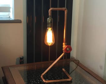 Man Cave / Industrial Chic Copper Pipe Lamp