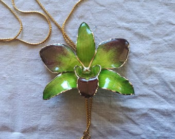Real Orchid Pendant Green