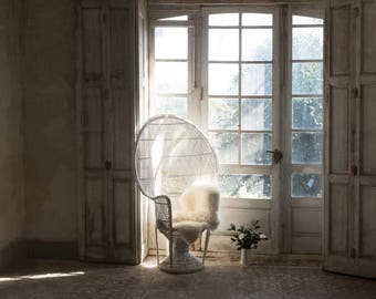 vintage style iconic PEACOCK CHAIR Emmanuelle chair- White colour
