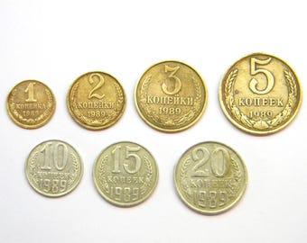 Set of 7 kopecks - Cent USSR Soviet Union Collection Vintage Money Coin,Set of all kopecks 1989 year,Money USSR