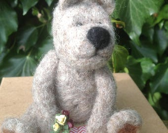 Needle felted Bear,EGGMO Bear,Needle Felted animal.