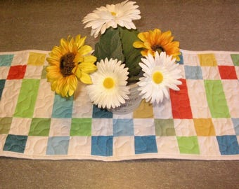 Quilted Table Runner, Handmade,geometric, quilted, table decor, table runner, bright, blue, yellow, red, green