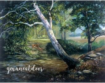 Down by the Creek // Oil Painting Print // Wildlife // Creek Life