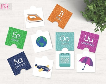 Printable Puzzle Vowel Learning Cards | flash cards, montessori toys, educational toys, preschool learning, toddler learning, baby learning
