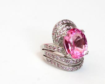 Natural Rose-berry Nice Topaz Sterling Silver Ring, Size 15