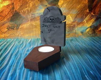 Gravestone and coffin candleholder