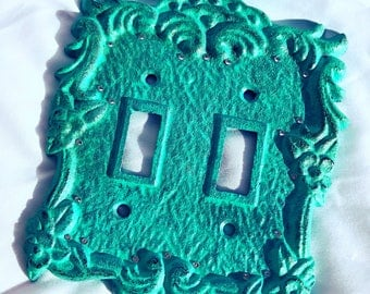 Rustic turquoise rust double light switch