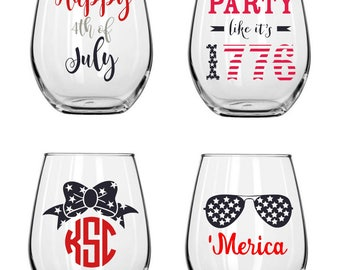 Fourth of July Stemless Wine Glasses