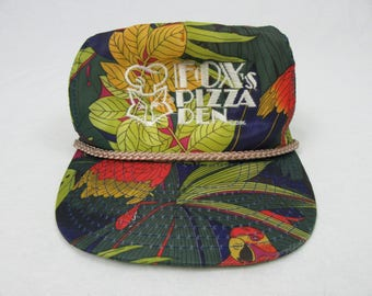 Vintage 80's Foxes Pizza Den Rainforest Print Trucker Hat 1986