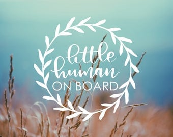 DECAL - Little Human on Board - Vinyl Decal, Car Window Decal, Baby on Board Decal, Safety Sticker, Baby on Board, Baby Shower Gift, Car