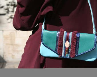 Jewel gipsy leather ethnic jewellery leather pouch