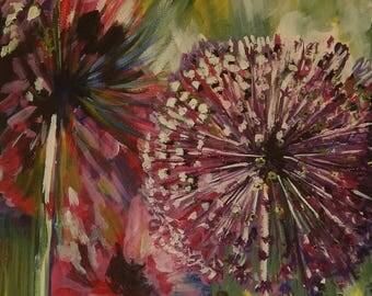 Purple Haze - Striking painting of alliums on box canvas