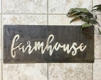 "Inverted Metal ""farmhouse"" Sign"