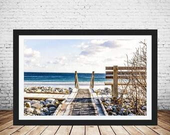 Path to beach, Beach photograph, White sandy beach, digital print, beach print, beach, wooden path, home decor, ocean waves.